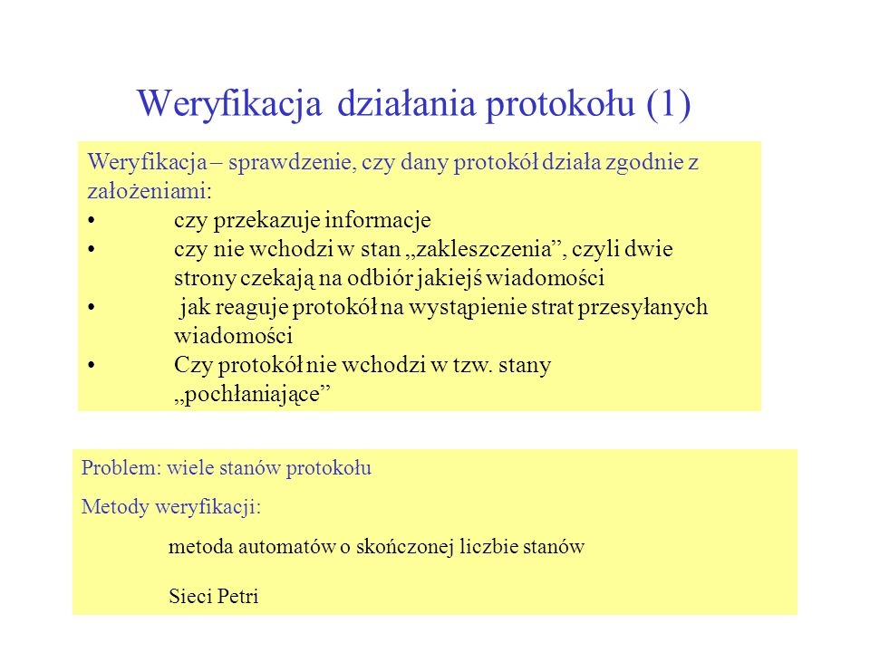 Weryfikacja działania protokołu (1)