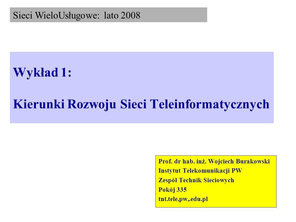 Wykład 1: Kierunki Rozwoju Sieci Teleinformatycznych