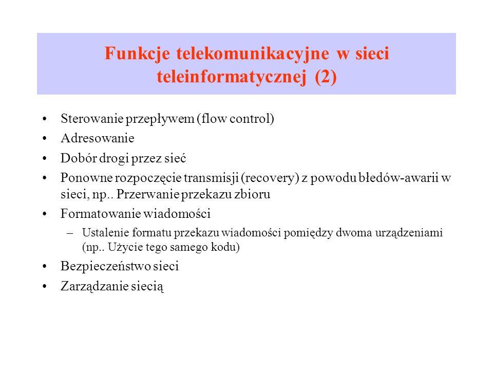 Funkcje telekomunikacyjne w sieci teleinformatycznej (2)
