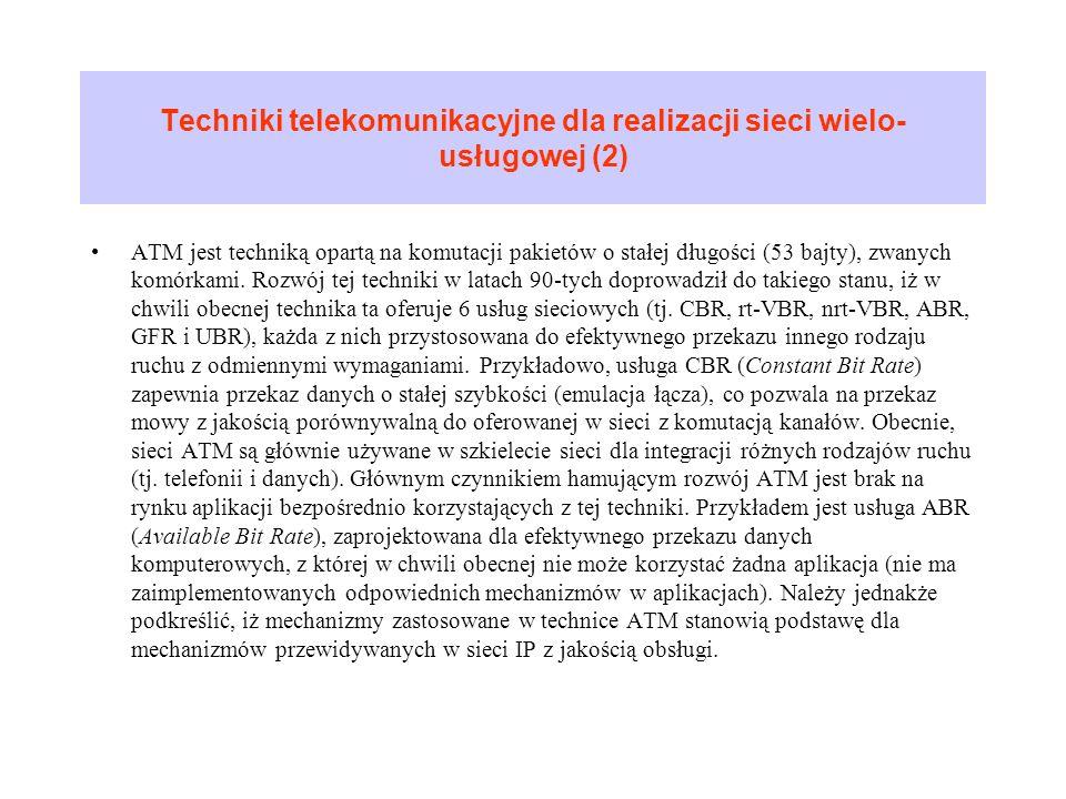 Techniki telekomunikacyjne dla realizacji sieci wielo-usługowej (2)