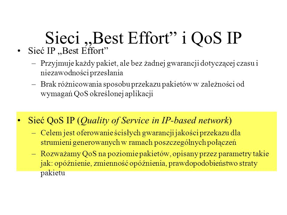 "Sieci ""Best Effort i QoS IP"
