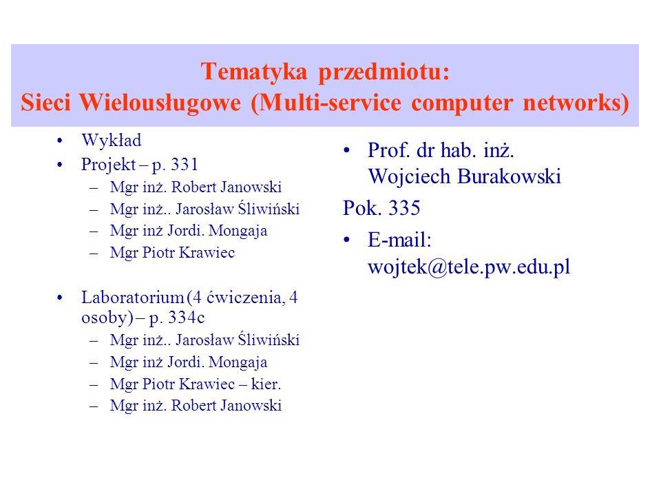 Tematyka przedmiotu: Sieci Wielousługowe (Multi-service computer networks)