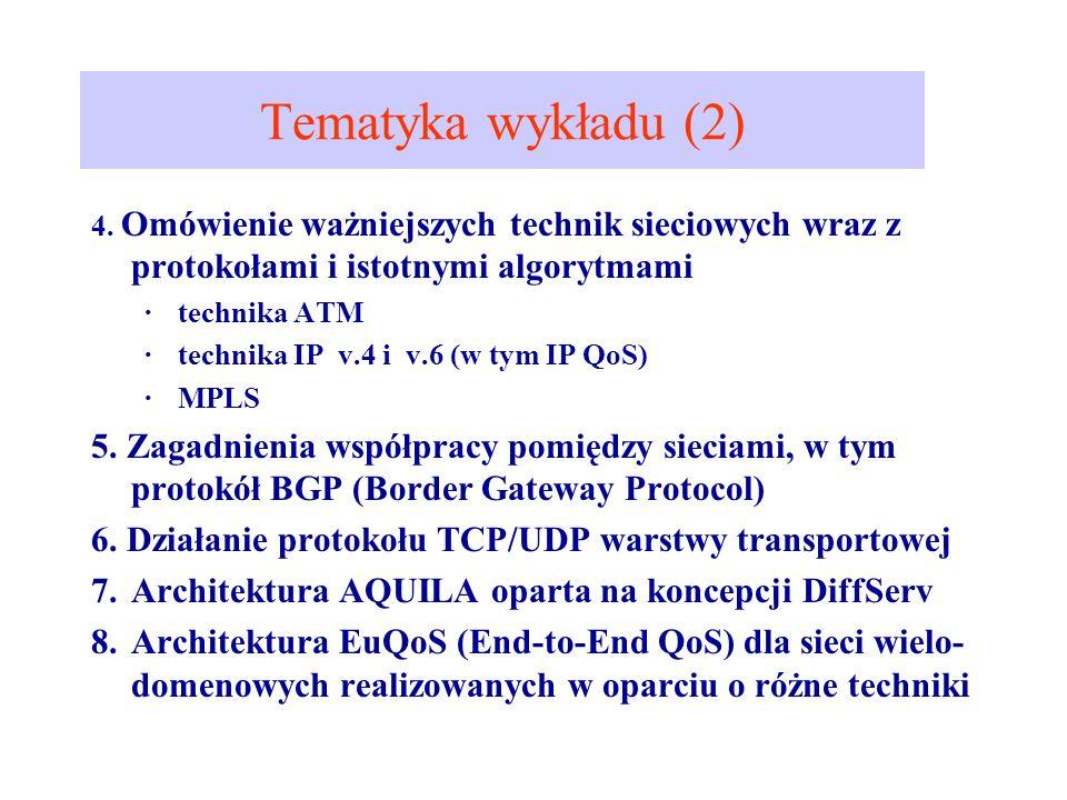 Tematyka wykładu (2) 4. Omówienie ważniejszych technik sieciowych wraz z protokołami i istotnymi algorytmami.