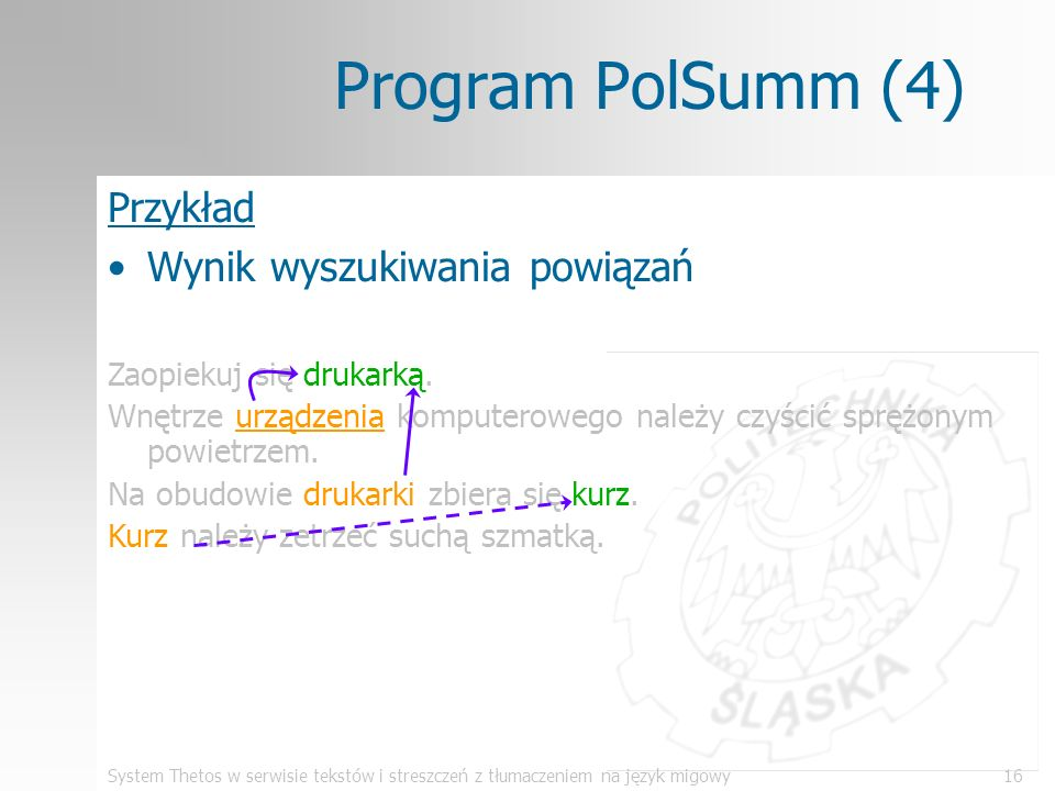Program PolSumm (4) Przykład Wynik wyszukiwania powiązań