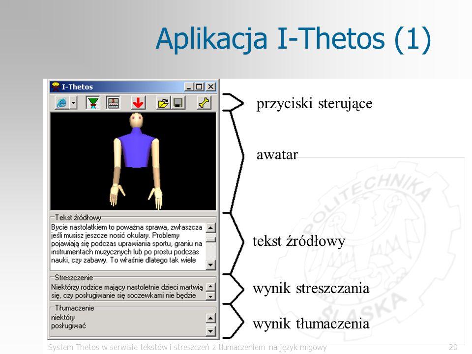 Aplikacja I-Thetos (1) przyciski sterujące awatar tekst źródłowy