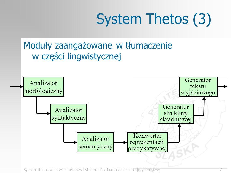 System Thetos (3)Moduły zaangażowane w tłumaczenie w części lingwistycznej. Analizator morfologiczny.