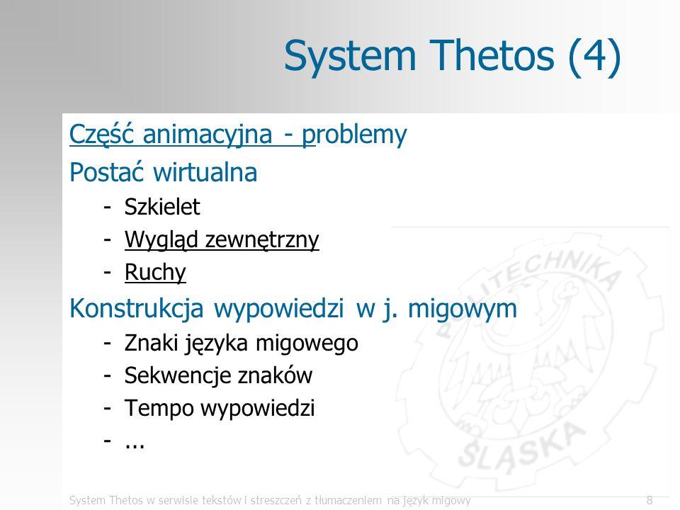 System Thetos (4) Część animacyjna - problemy Postać wirtualna