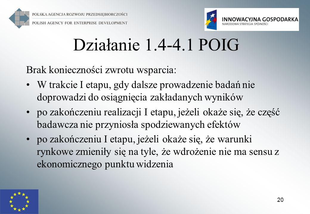Działanie 1.4-4.1 POIG Brak konieczności zwrotu wsparcia: