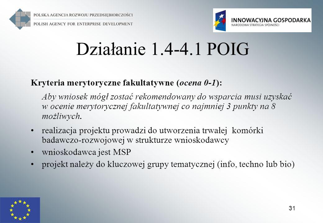 Działanie 1.4-4.1 POIG Kryteria merytoryczne fakultatywne (ocena 0-1):