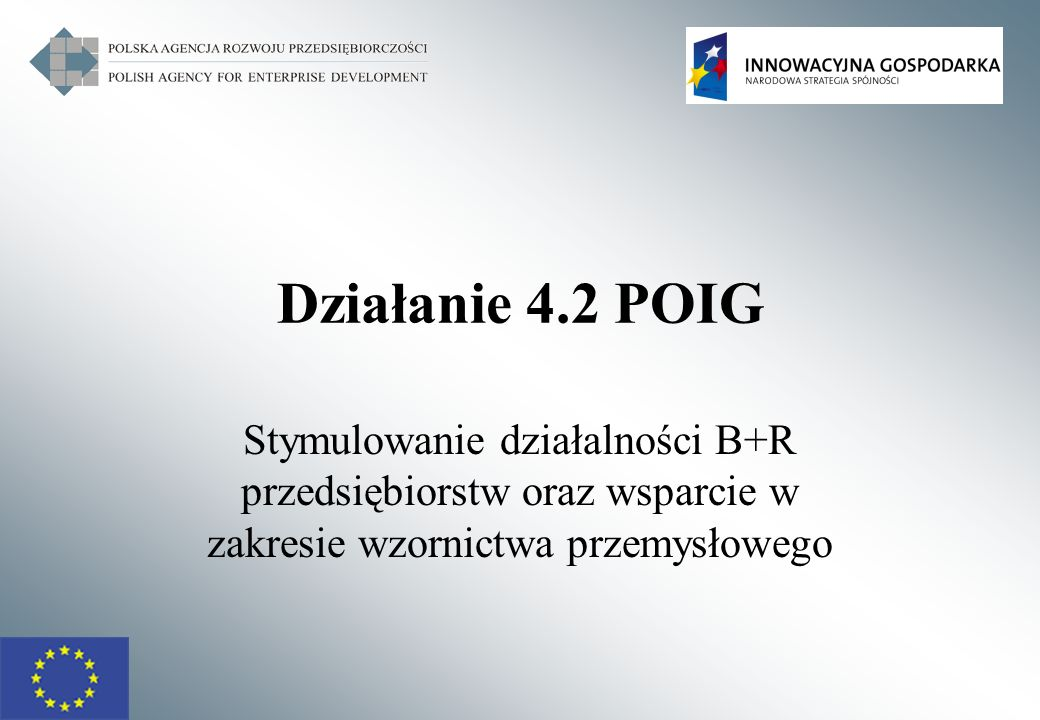 Działanie 4.2 POIG Stymulowanie działalności B+R przedsiębiorstw oraz wsparcie w zakresie wzornictwa przemysłowego.