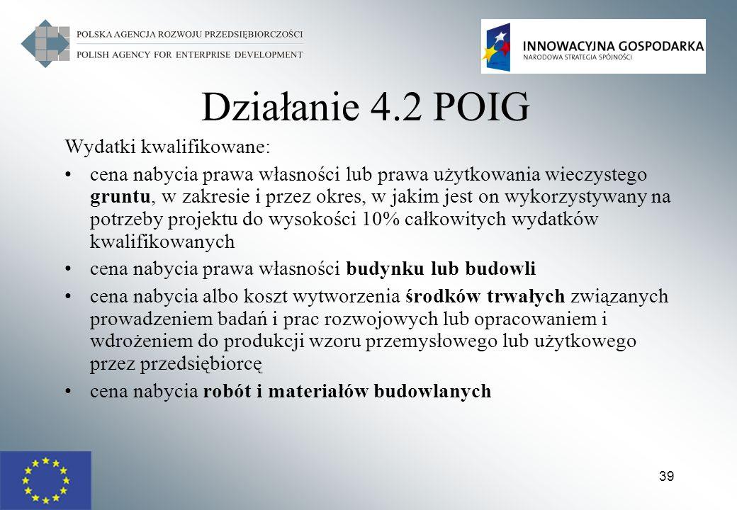 Działanie 4.2 POIG Wydatki kwalifikowane: