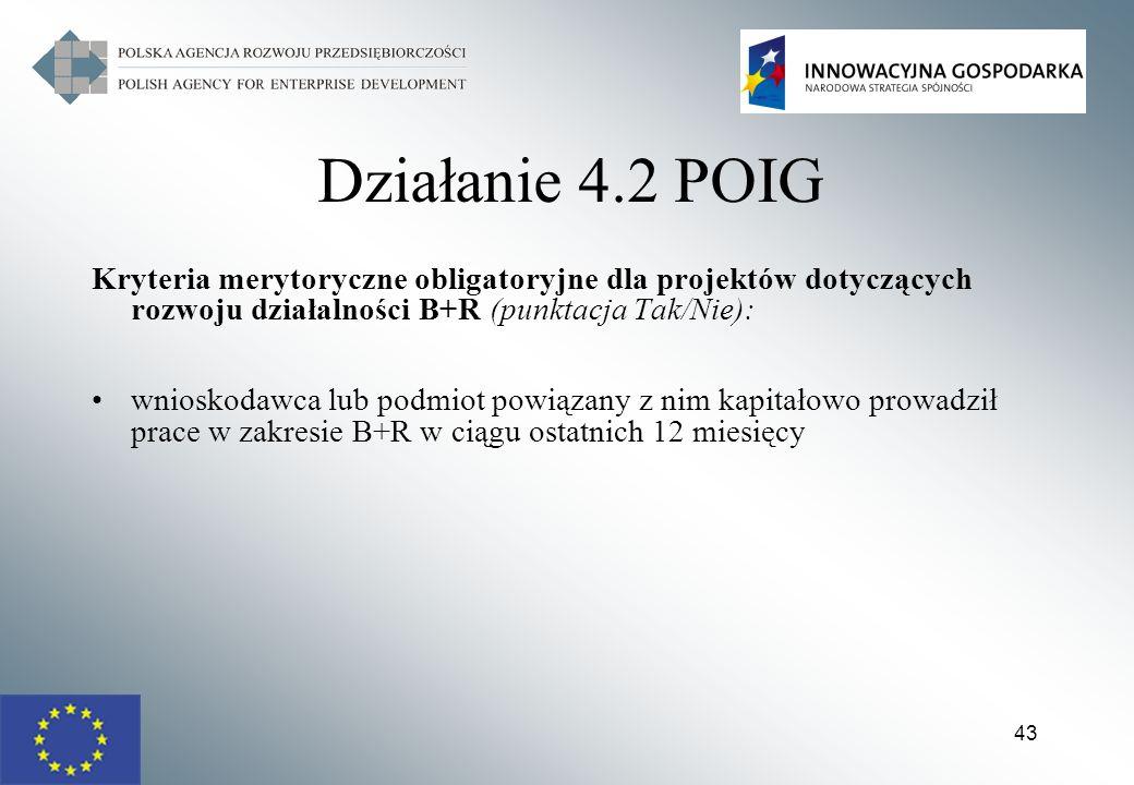 Działanie 4.2 POIG Kryteria merytoryczne obligatoryjne dla projektów dotyczących rozwoju działalności B+R (punktacja Tak/Nie):