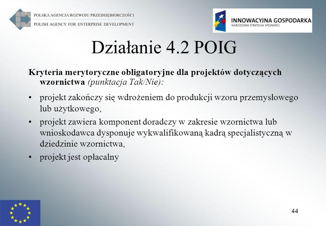 Działanie 4.2 POIG Kryteria merytoryczne obligatoryjne dla projektów dotyczących wzornictwa (punktacja Tak/Nie):