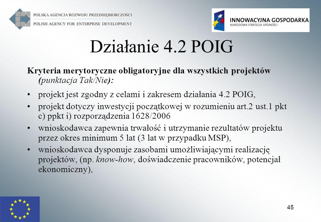 Działanie 4.2 POIG Kryteria merytoryczne obligatoryjne dla wszystkich projektów (punktacja Tak/Nie):