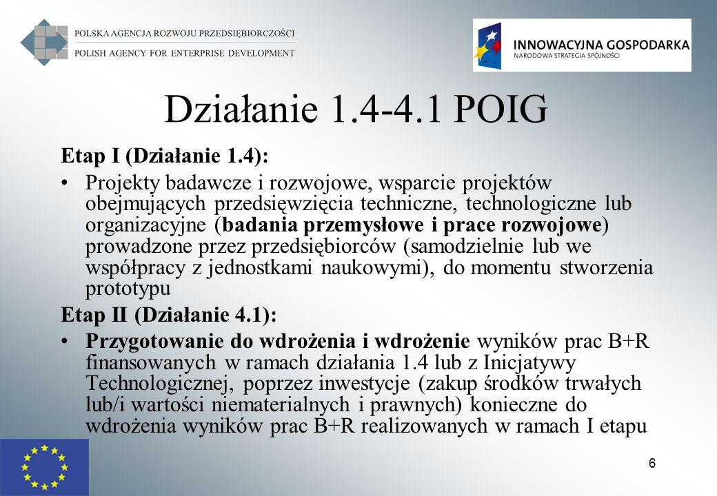 Działanie 1.4-4.1 POIG Etap I (Działanie 1.4):