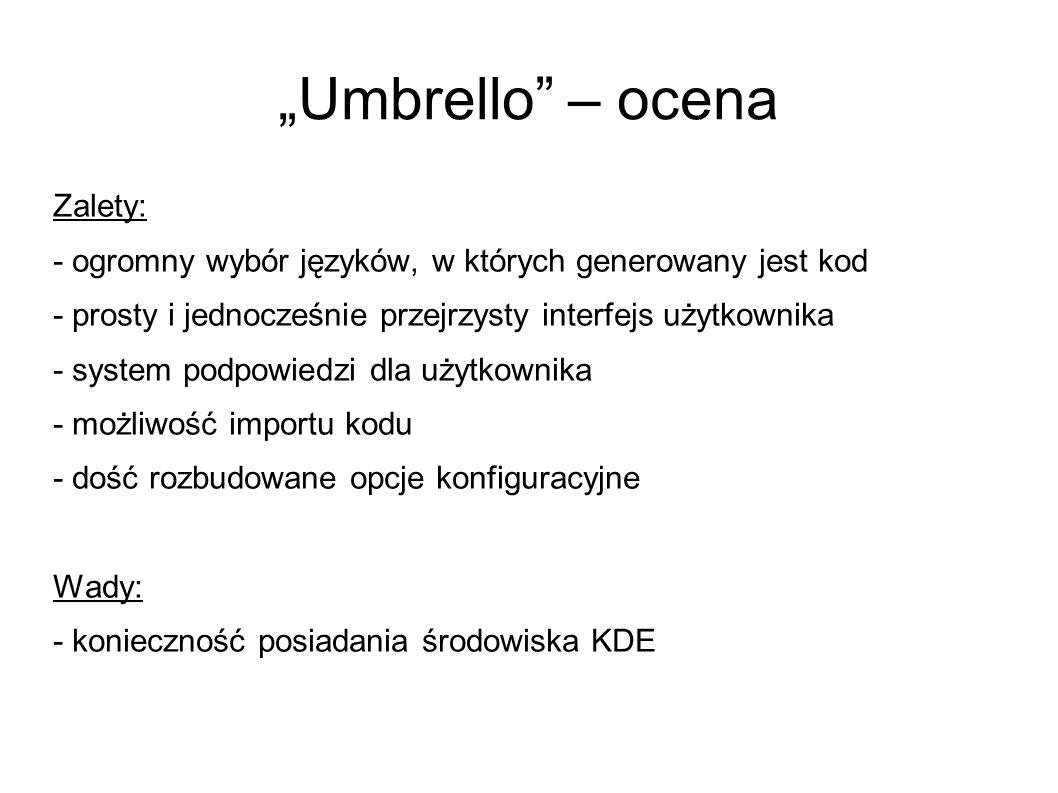 """""""Umbrello – ocena Zalety:"""