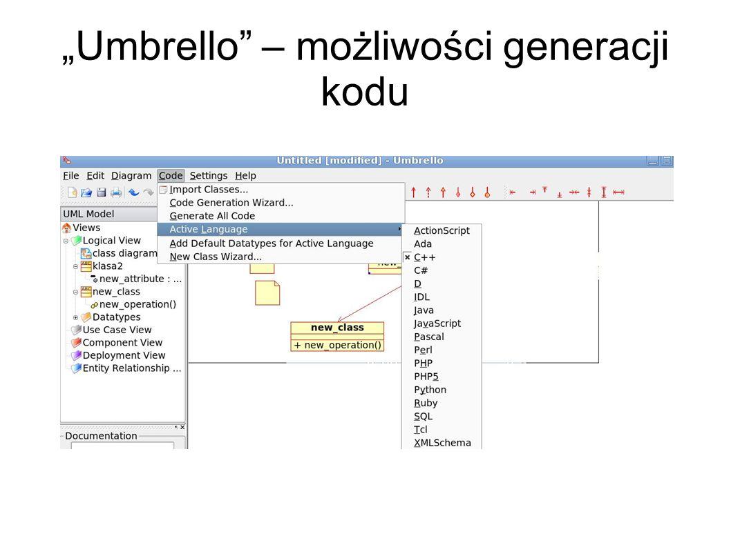 """""""Umbrello – możliwości generacji kodu"""