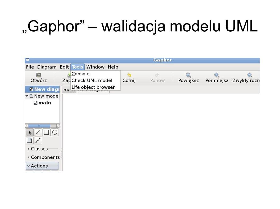 """Gaphor – walidacja modelu UML"