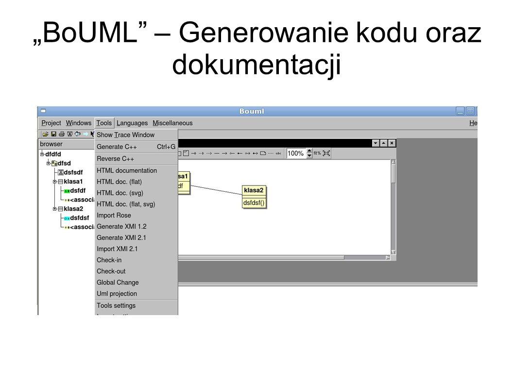 """""""BoUML – Generowanie kodu oraz dokumentacji"""