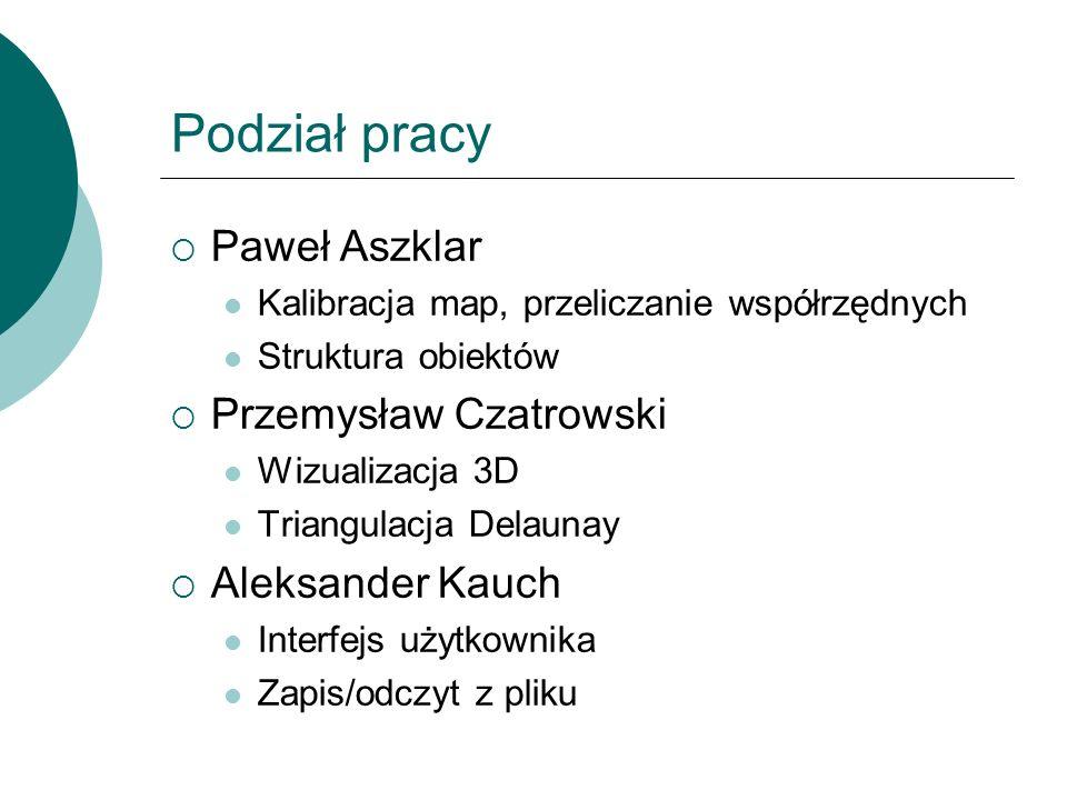 Podział pracy Paweł Aszklar Przemysław Czatrowski Aleksander Kauch