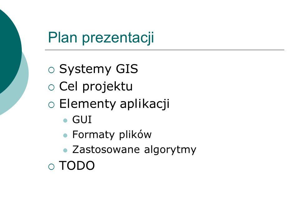 Plan prezentacji Systemy GIS Cel projektu Elementy aplikacji TODO GUI