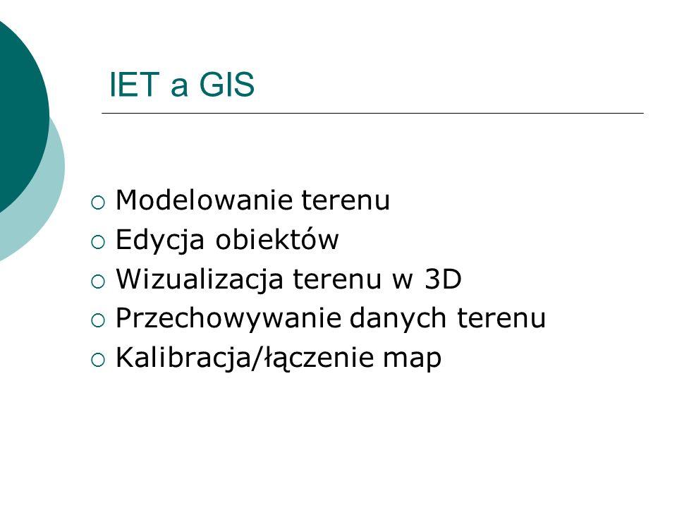 IET a GIS Modelowanie terenu Edycja obiektów Wizualizacja terenu w 3D