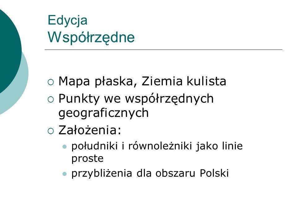 Edycja Współrzędne Mapa płaska, Ziemia kulista