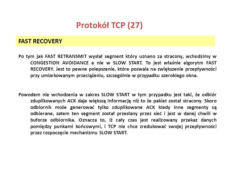 Protokół TCP (27) FAST RECOVERY