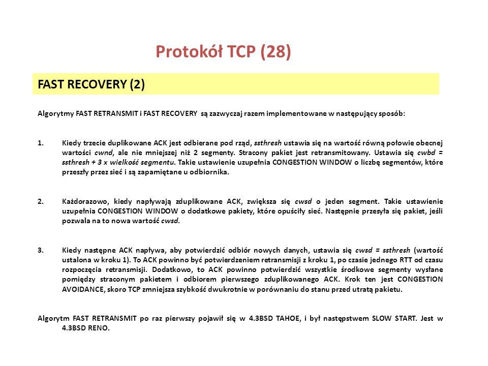 Protokół TCP (28) FAST RECOVERY (2)