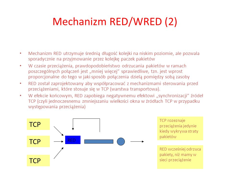 Mechanizm RED/WRED (2) TCP TCP TCP