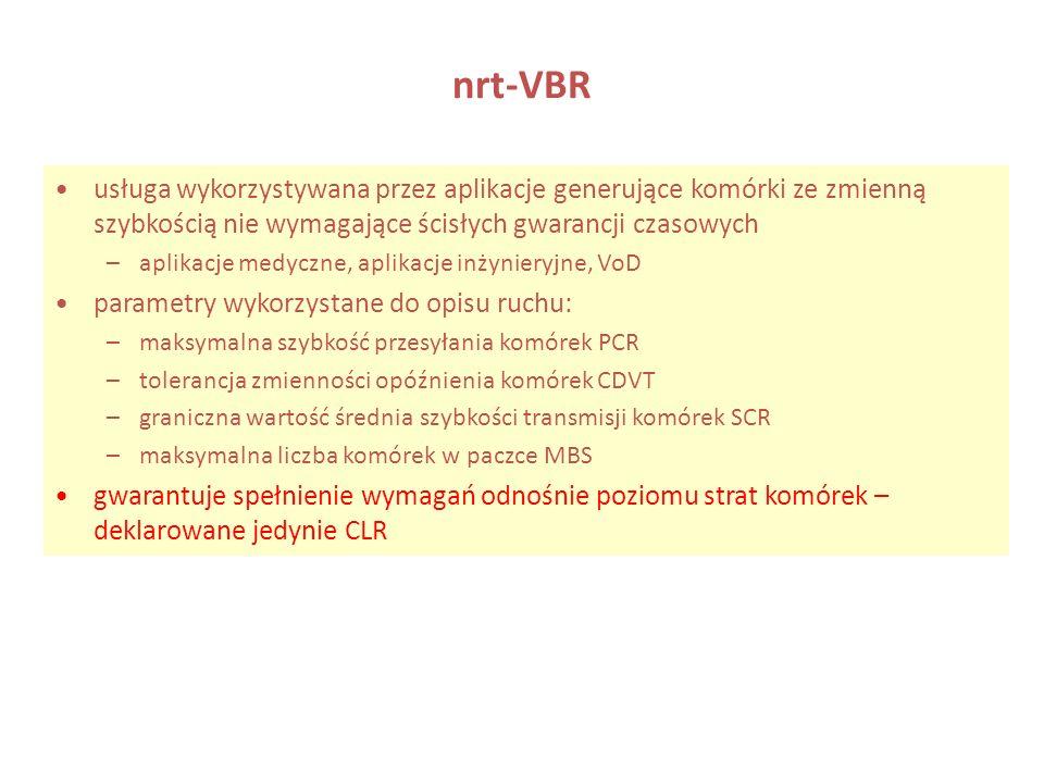 nrt-VBRusługa wykorzystywana przez aplikacje generujące komórki ze zmienną szybkością nie wymagające ścisłych gwarancji czasowych.