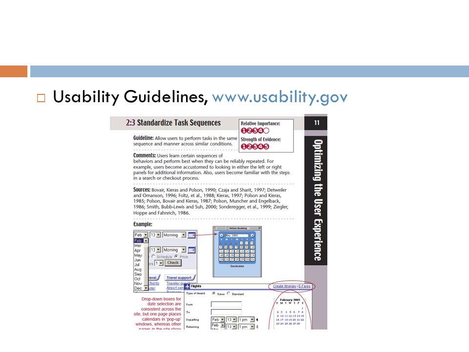 Usability Guidelines, www.usability.gov