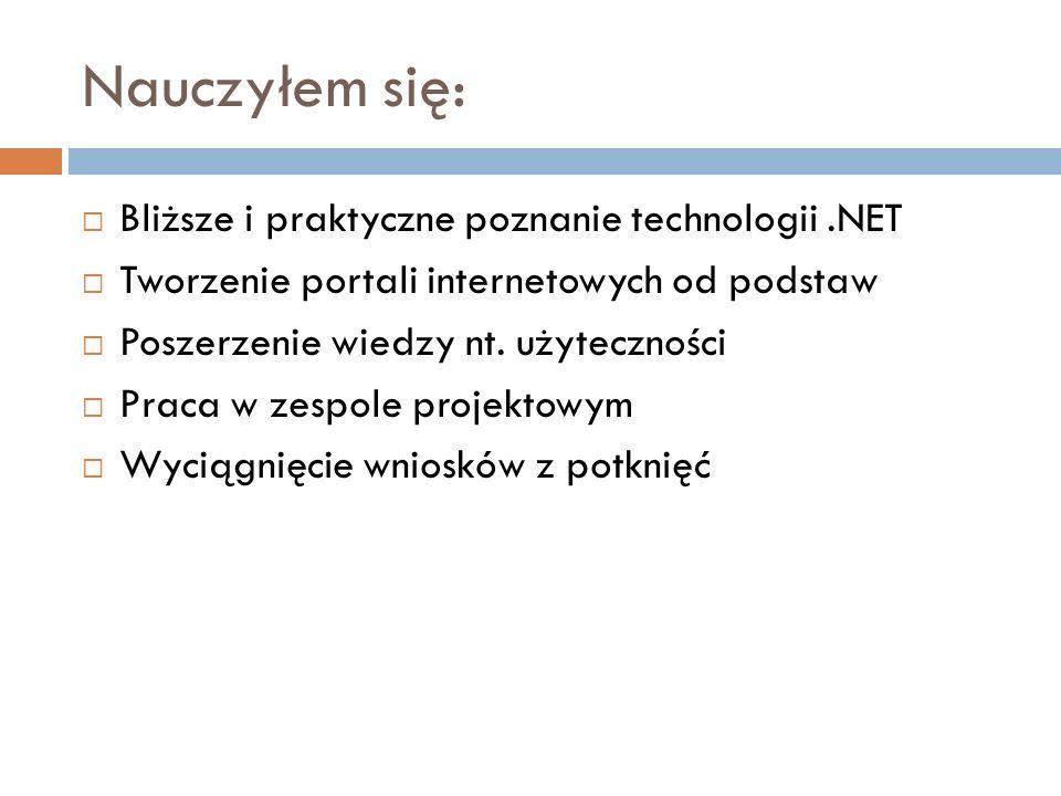 Nauczyłem się: Bliższe i praktyczne poznanie technologii .NET