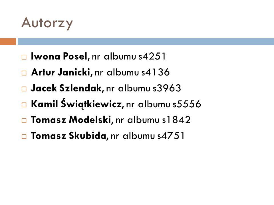 Autorzy Iwona Posel, nr albumu s4251 Artur Janicki, nr albumu s4136
