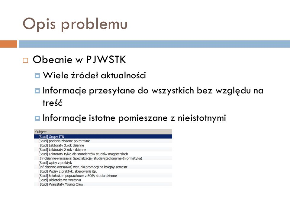 Opis problemu Obecnie w PJWSTK Wiele źródeł aktualności