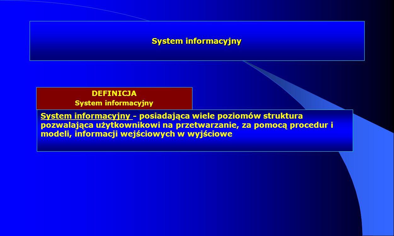 System informacyjny DEFINICJA. System informacyjny.