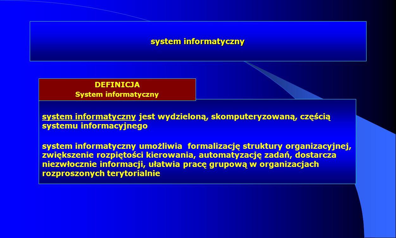 system informatyczny DEFINICJA. System informatyczny. system informatyczny jest wydzieloną, skomputeryzowaną, częścią systemu informacyjnego.