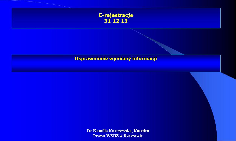 E-rejestracje 31 12 13 Usprawnienie wymiany informacji