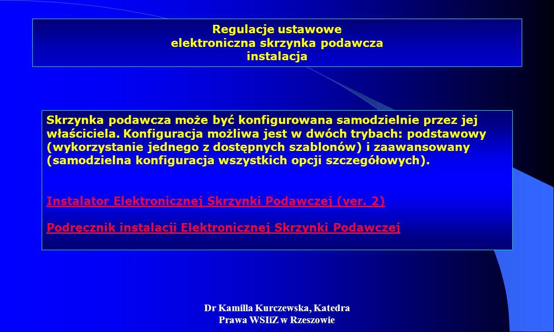 Regulacje ustawowe elektroniczna skrzynka podawcza instalacja