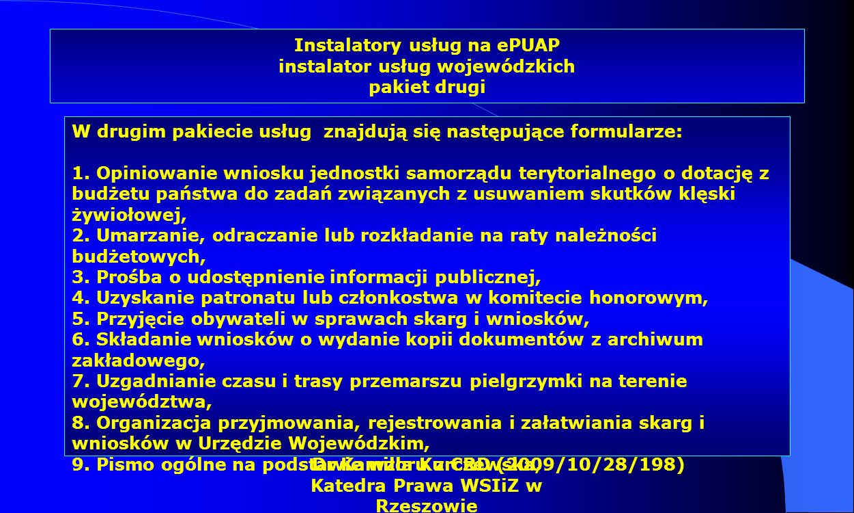 Instalatory usług na ePUAP instalator usług wojewódzkich pakiet drugi