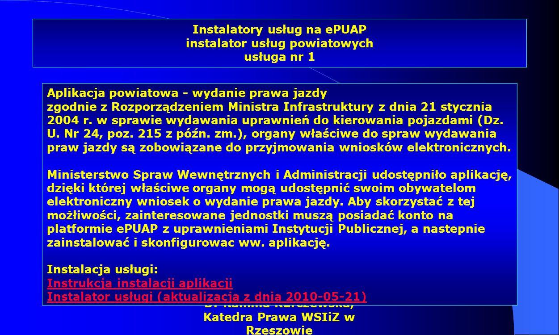 Instalatory usług na ePUAP instalator usług powiatowych usługa nr 1