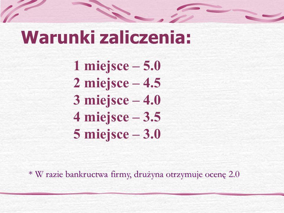 Warunki zaliczenia: 1 miejsce – 5.0 2 miejsce – 4.5 3 miejsce – 4.0 4 miejsce – 3.5 5 miejsce – 3.0.