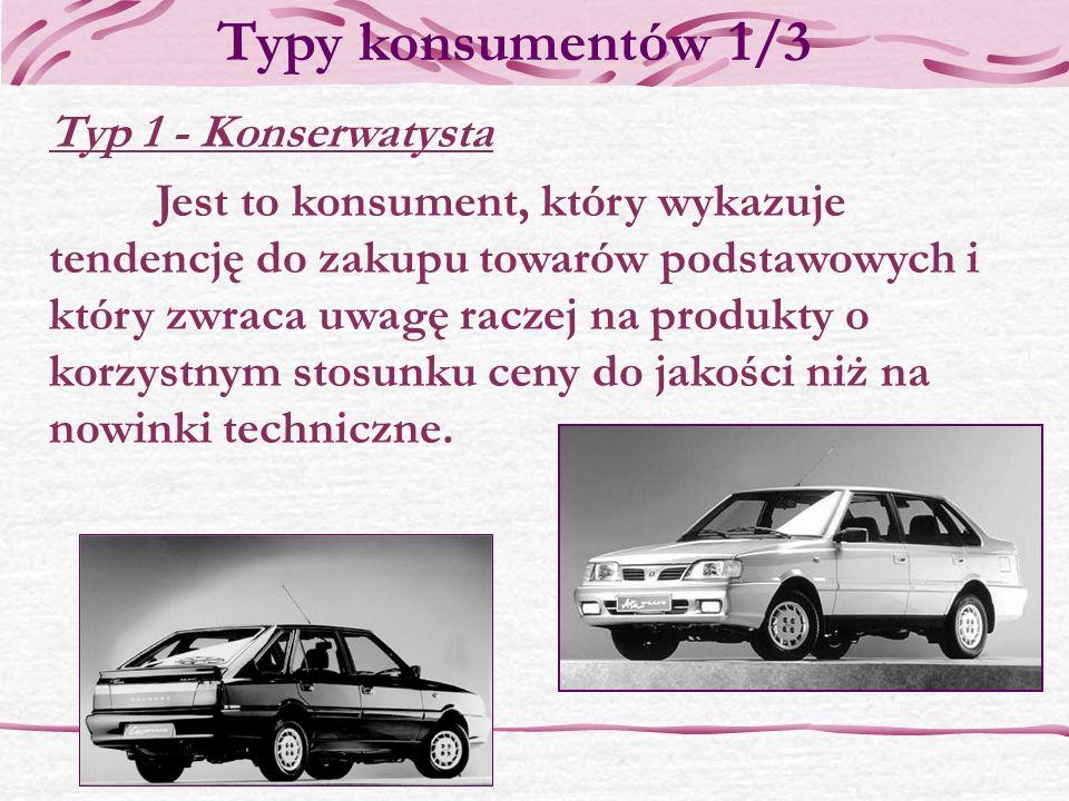 Typy konsumentów 1/3 Typ 1 - Konserwatysta