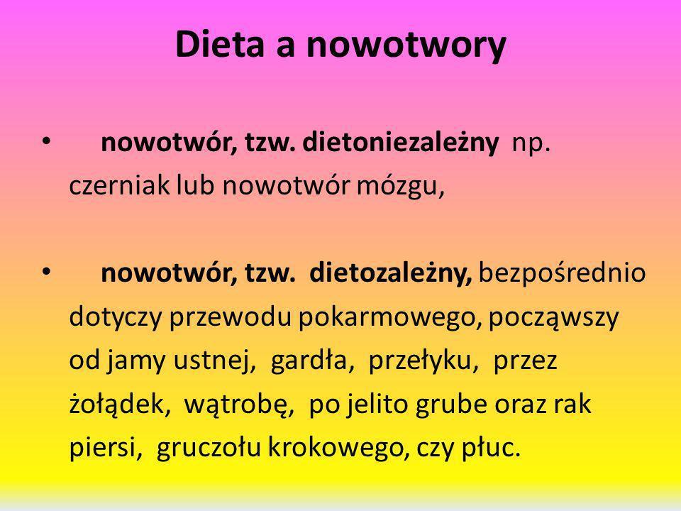 Dieta a nowotwory nowotwór, tzw. dietoniezależny np.
