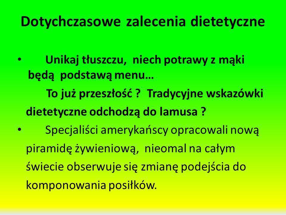 Dotychczasowe zalecenia dietetyczne