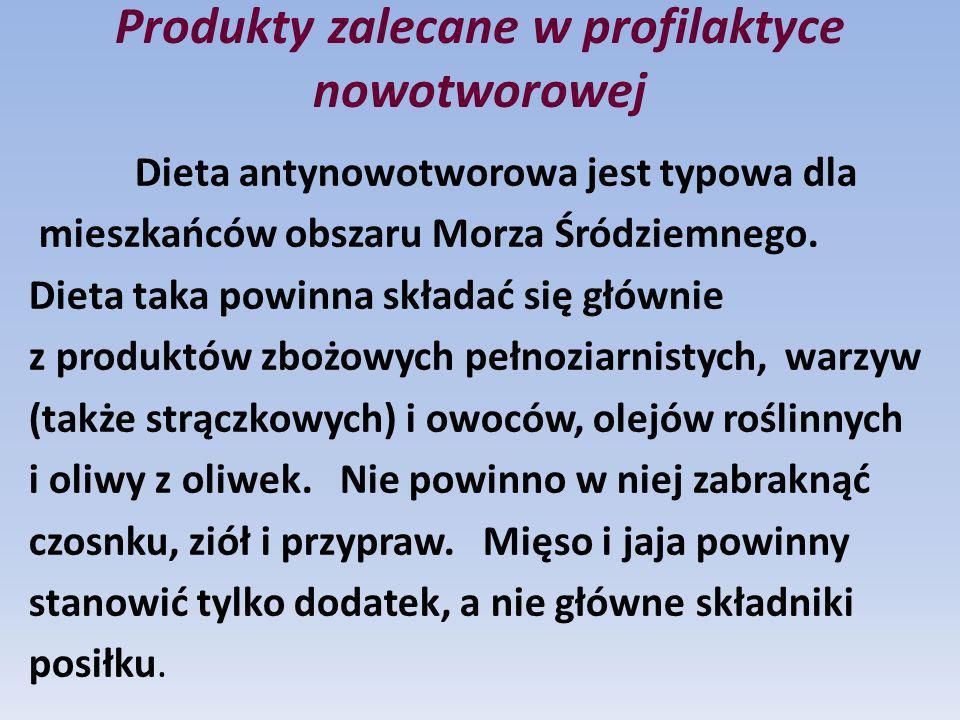Produkty zalecane w profilaktyce nowotworowej