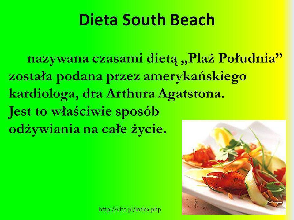 """Dieta South Beach nazywana czasami dietą """"Plaż Południa została podana przez amerykańskiego kardiologa, dra Arthura Agatstona."""