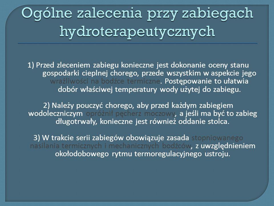 Ogólne zalecenia przy zabiegach hydroterapeutycznych