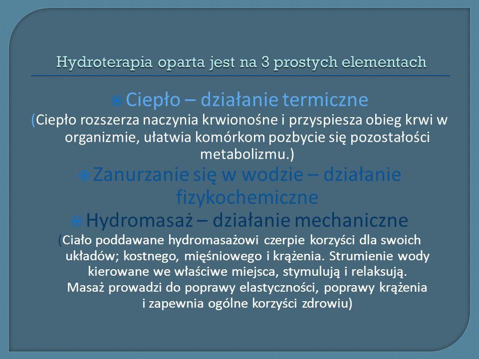 Hydroterapia oparta jest na 3 prostych elementach