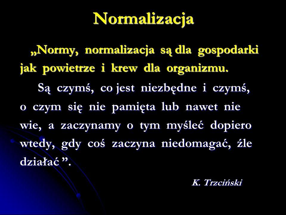 Normalizacja Są czymś, co jest niezbędne i czymś, K. Trzciński
